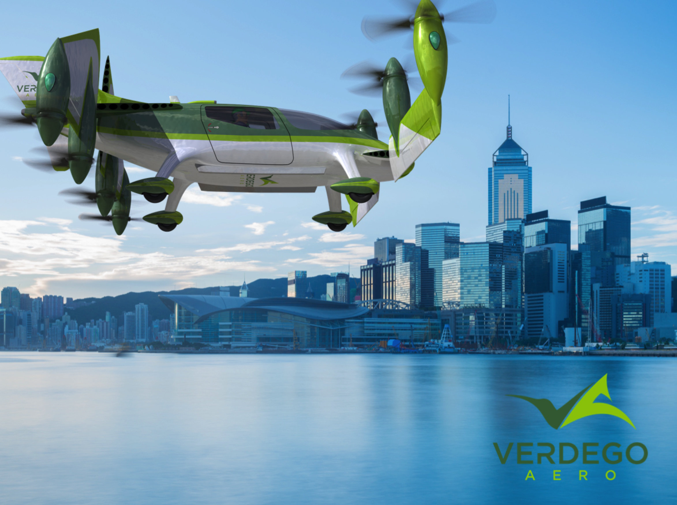 urban air taxi VerdeGo Aero over Hong Kong