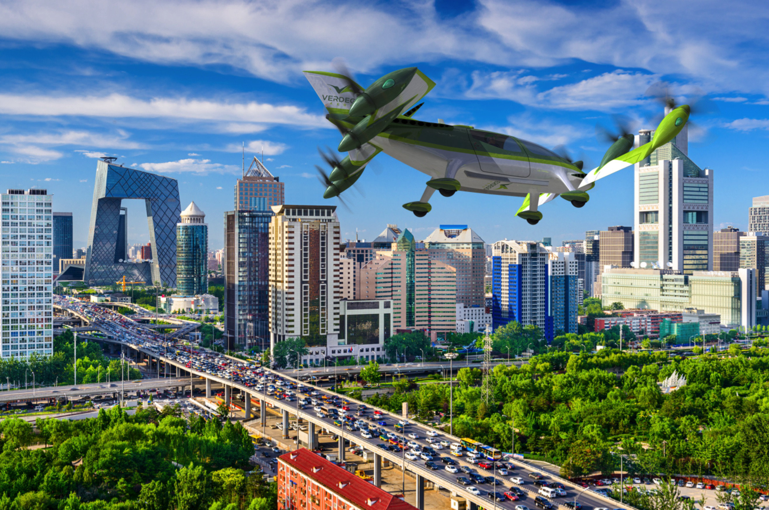 urban air taxi VerdeGo PAT200 over Beijing traffic
