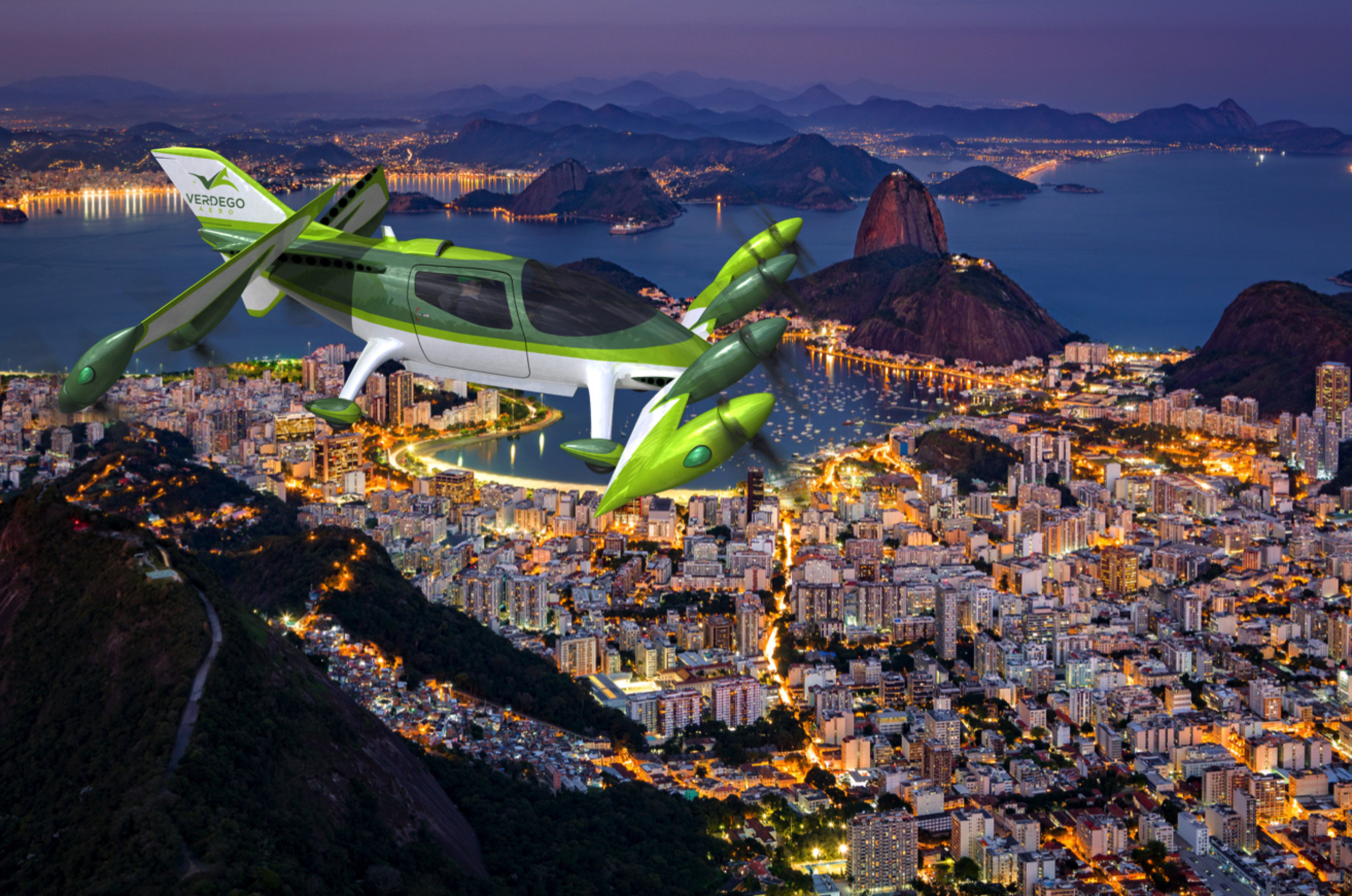 urban air taxi VerdeGo PAT200 over Rio