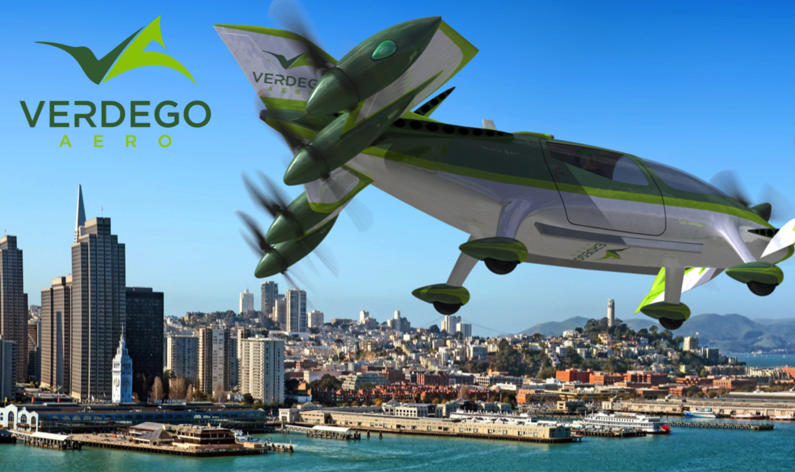 urban air taxi VerdeGo PAT200 over SF with logo