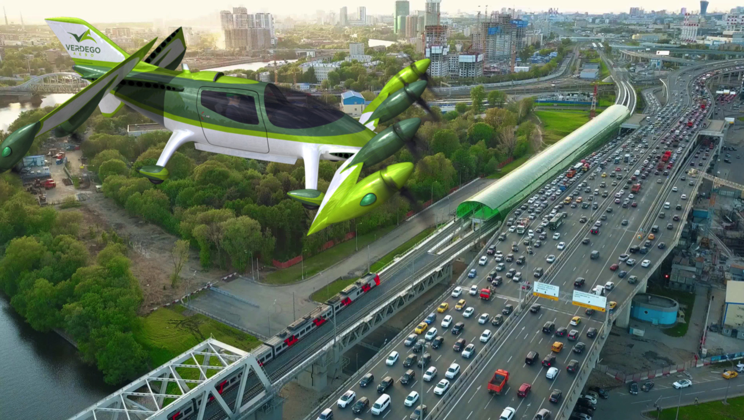 urban air taxi VerdeGo over traffic